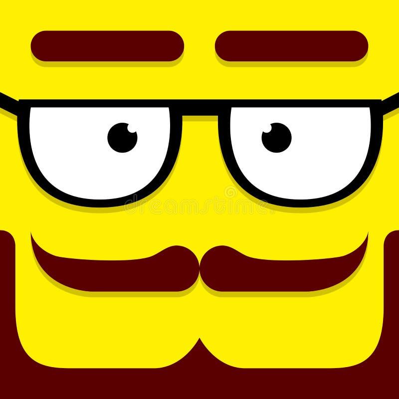 Ein Vektor-nettes Karikatur-Gelb-Hippie-Gesicht vektor abbildung