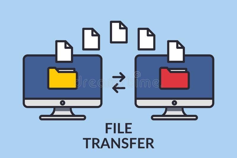 Ein Vektor Zwei Computer mit Ordnern auf dem Schirm und den Dokumenten gesendet Kopieren Sie Dateien, Datenaustausche, Unterstütz lizenzfreie abbildung