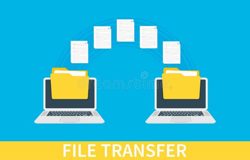 Ein Vektor Zwei Laptops mit Ordnern auf Schirm und übertragenen Dokumenten Kopieren Sie Dateien, Datenaustausch, Unterstützung, P lizenzfreie abbildung