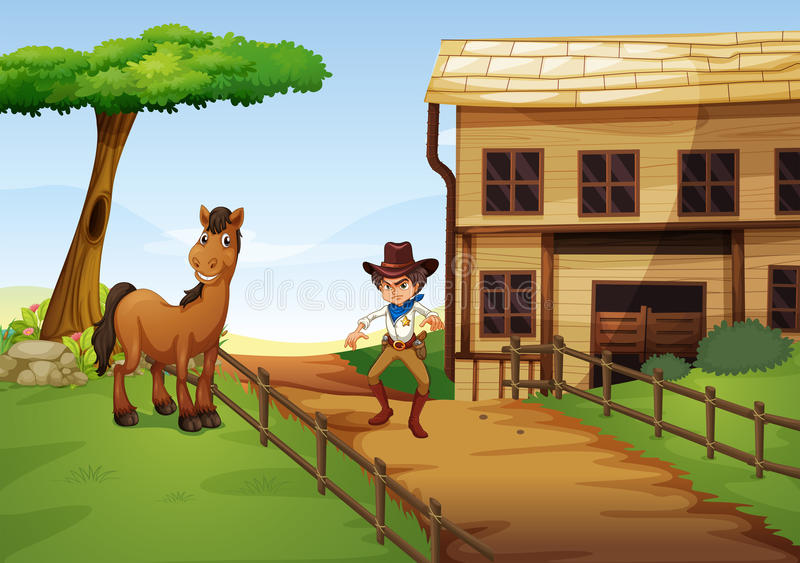 Ein verärgerter Cowboy mit einem Pferd am Zaun lizenzfreie abbildung
