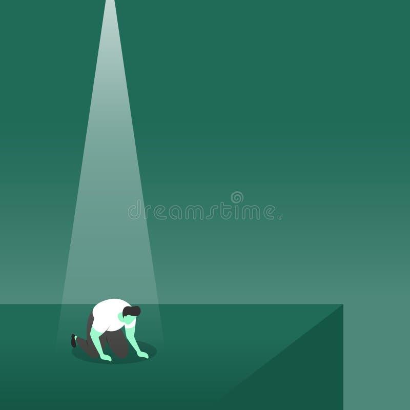 Ein Verlierer stürzte frustriert mit Ausfall unter Scheinwerfer-Geschäfts-Konzept-Illustration vektor abbildung