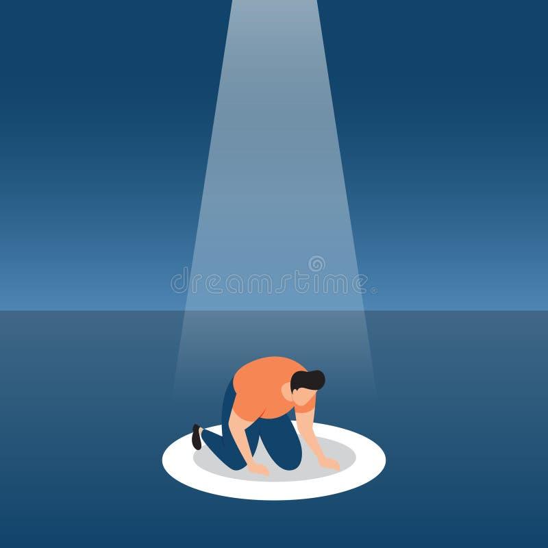 Ein Verlierer st?rzte frustriert mit Ausfall unter Scheinwerfer-Gesch?fts-Konzept-Illustration vektor abbildung