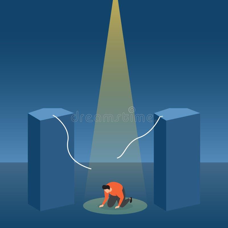 Ein Verlierer st?rzte frustriert mit Ausfall unter Scheinwerfer-Gesch?fts-Konzept-Illustration lizenzfreie abbildung