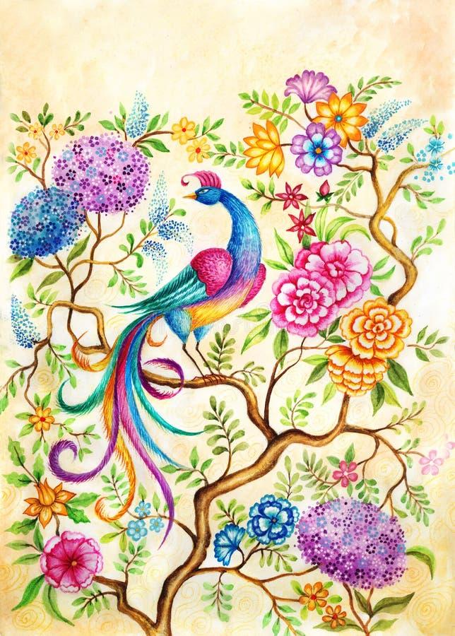 Ein Vogel des Glückes in einem feenhaften Garten stock abbildung