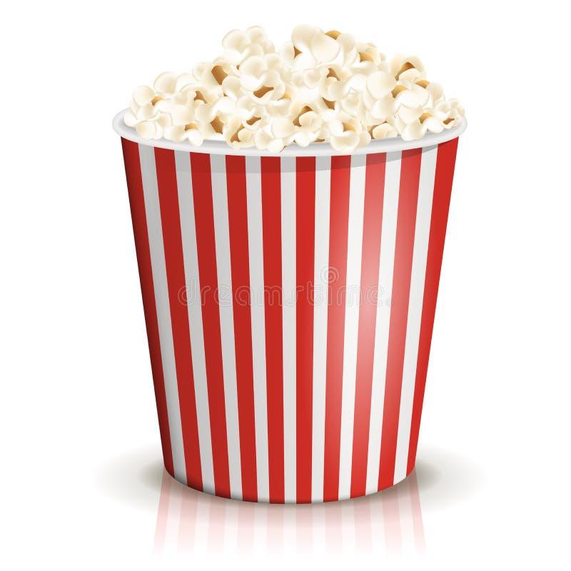 Ein voller rot-und-weißer gestreifter Eimer Popcorn Großer oder großer Teil vektor abbildung