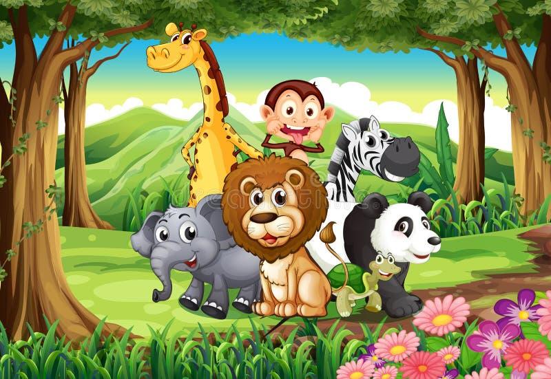 Ein Wald mit Tieren lizenzfreie abbildung
