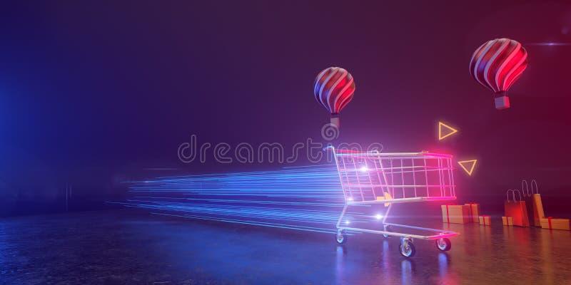 Ein Warenkorb bewegt sich mit Lichtgeschwindigkeit im Hintergrund mit Ballons und Geschenkdosen Alle leben in einer futuristische lizenzfreie stockfotografie