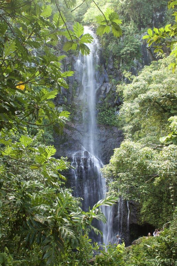 Ein Wasserfall auf der Straße zu Hana in Maui, Hawaii stockfotografie