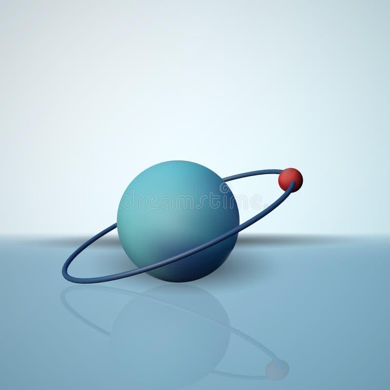 Ein Wasserstoffatom Das Elektron in der Bahn Das wissenschaftliche Modell von Molekülen lizenzfreie abbildung