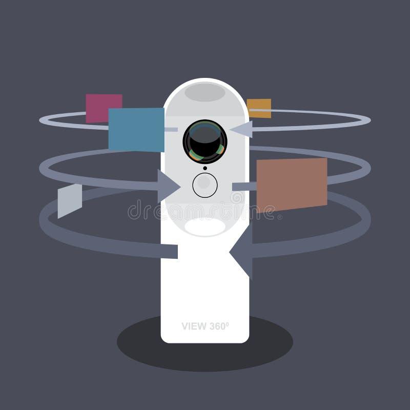 Ein Weiß 360-Grad-Kameravideorecorder vektor abbildung