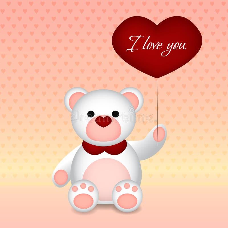 Ein weißer Bär mit einem Ballon, auf dem ich ich liebe dich schreibe lizenzfreie abbildung