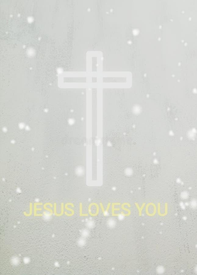 Ein weißes Kreuz und ein Text Jesus liebt Sie stockfoto