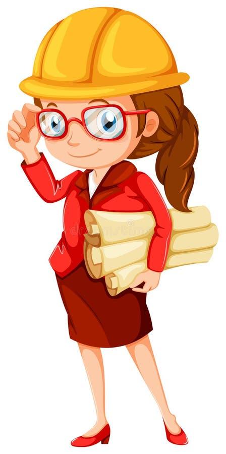Ein weiblicher Ingenieur stock abbildung