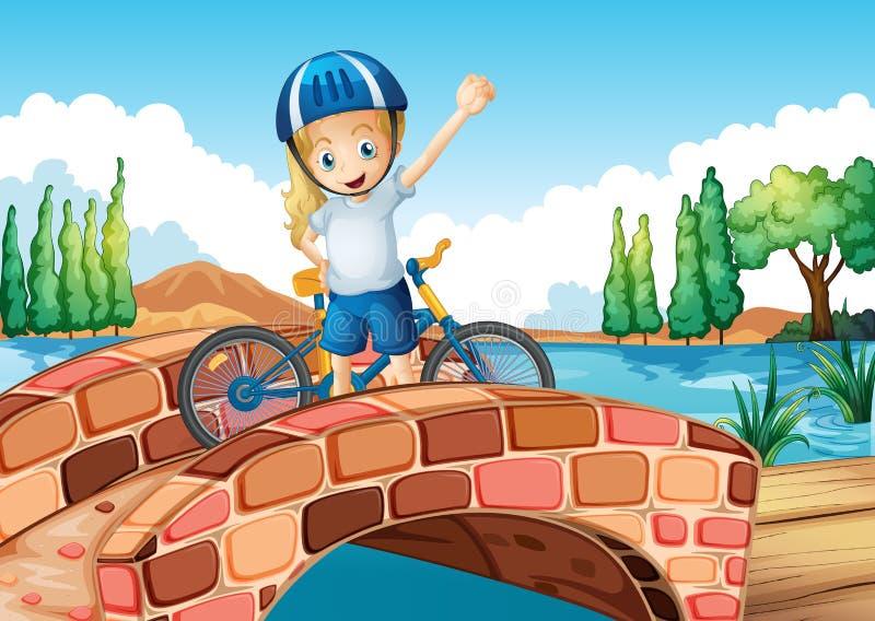 Ein weiblicher Radfahrer, der über der Brücke steht stock abbildung