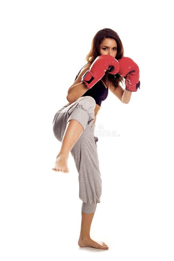 Kickboxing Frau. stockfoto