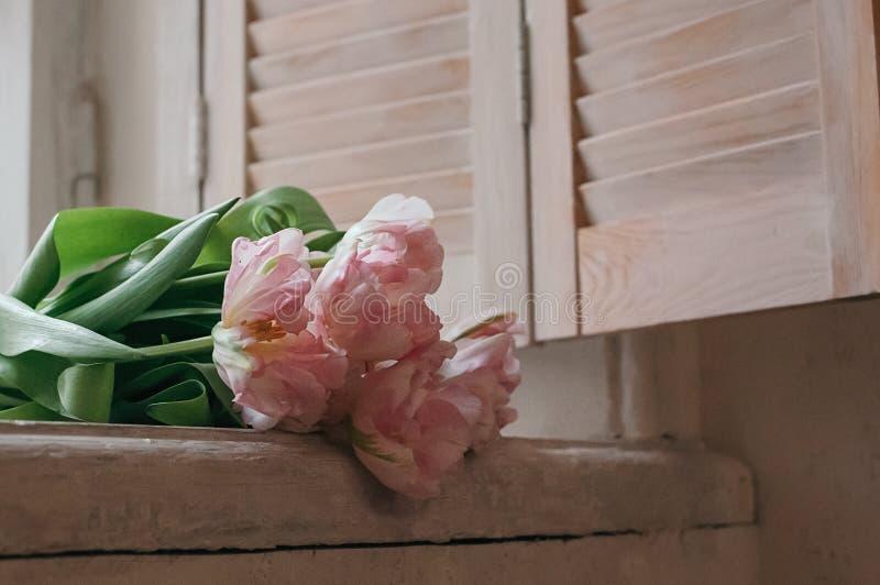 Ein Weiche richtete Blumenstrauß von Pfingstrosentulpen auf ein Fensterbrett lizenzfreie stockfotos