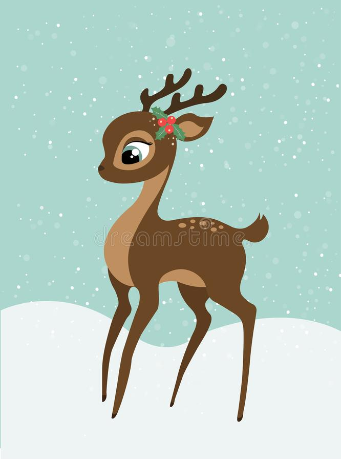 Ein Weihnachtsbabyrotwild mit schneebedecktem Hintergrund stockfotos