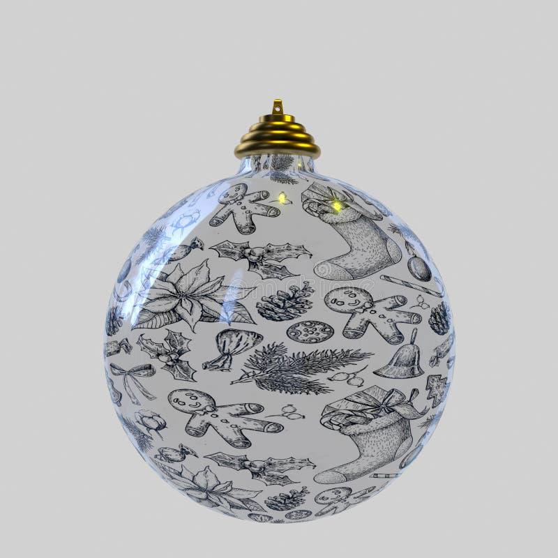 Ein Weihnachtsball auf weißem Hintergrund lizenzfreie abbildung