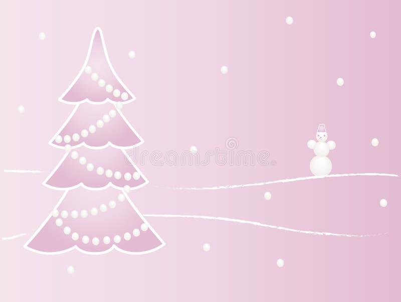 Ein Weihnachtsbaum und ein Schneemann lizenzfreie stockbilder