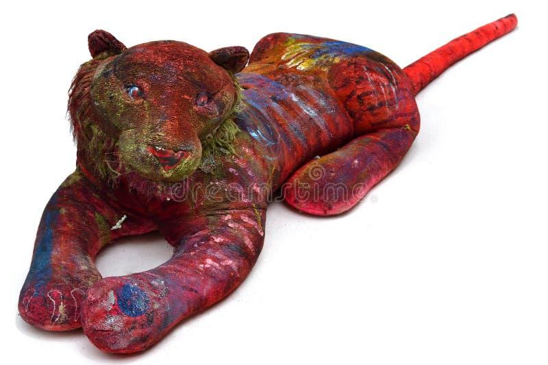 Ein Weinleseplüsch-Löwespielzeug lizenzfreie stockbilder