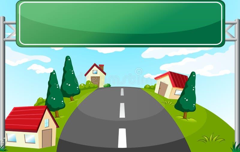 Ein weiter Weg und ein grünes Schild lizenzfreie abbildung