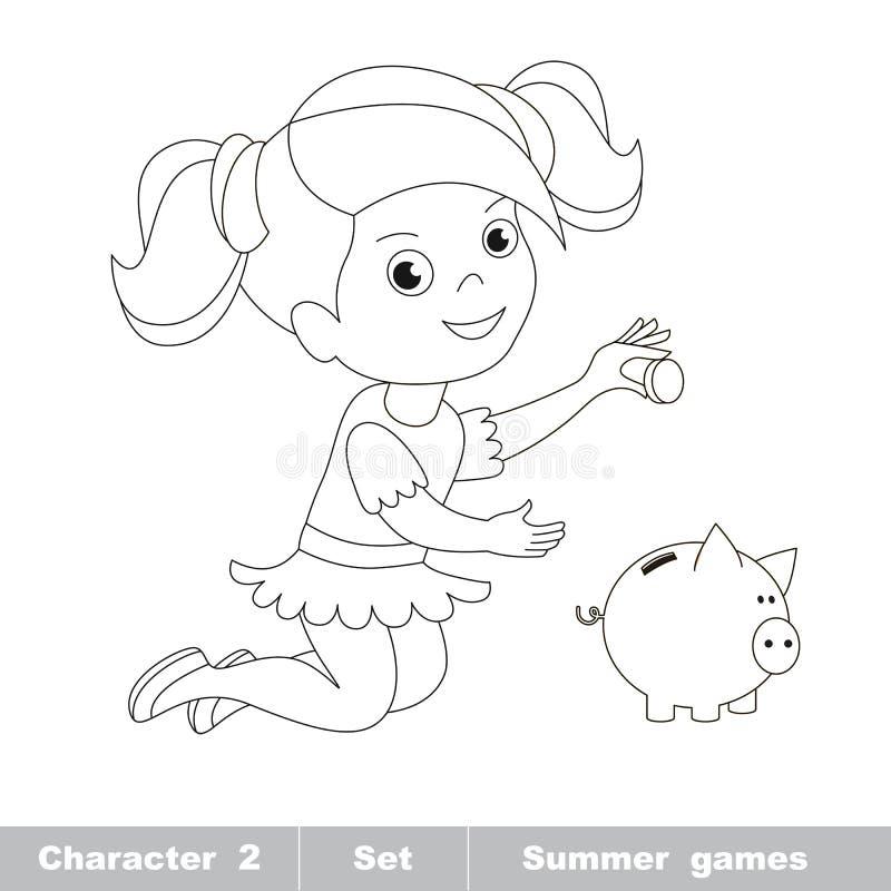 Ein wenig Babyspiel mit Münze und Sparschwein lizenzfreie abbildung