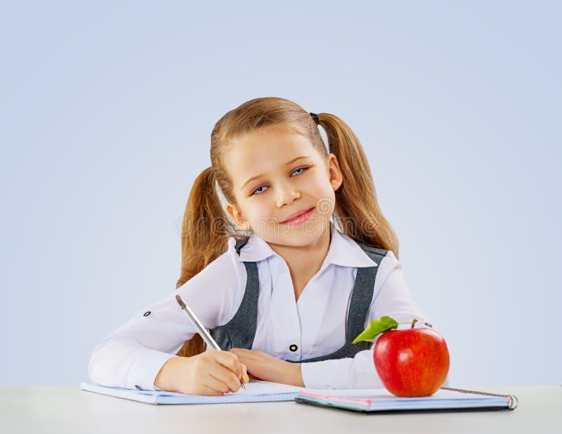 Ein wenig shoolgirl Schreiben in ihrem Notizbuch lizenzfreies stockbild