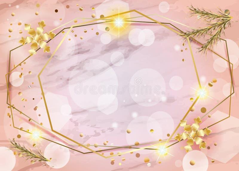 Ein 2019 Winterurlaub-guten Rutsch ins Neue Jahr-Weihnachten Bokeh beleuchtet Coral Trendy Decoration Gold-KARTE vektor abbildung