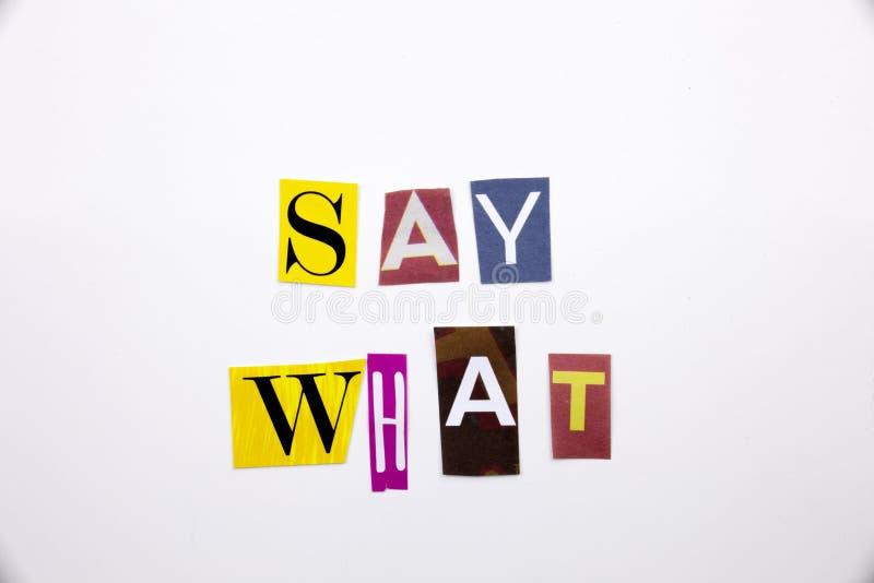 Ein Wortschreibenstext, der Konzept von zeigt, sagen, was Frage vom unterschiedlichen Zeitschriftenzeitungsbuchstaben für Geschäf lizenzfreie stockfotos
