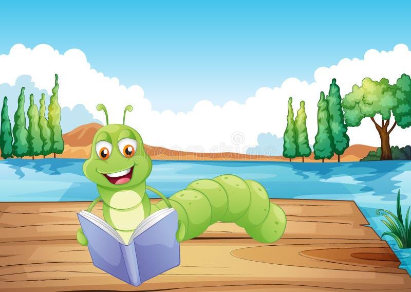 Ein Wurm, der ein Buch liest stock abbildung