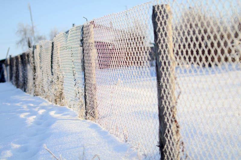 Ein Zaun der Maschenfiletarbeit bedeckt mit Frost an einem sonnigen Tag stockbild