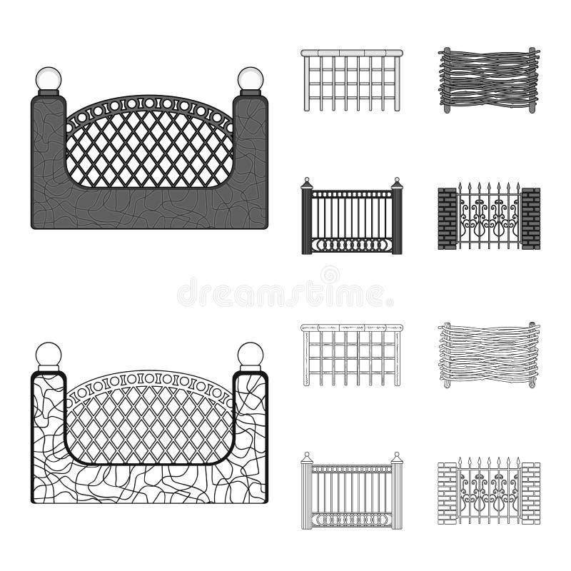 Ein Zaun des Metalls und der Ziegelsteine, hölzerne Palisade Ikonen einer gesetzte Sammlung des unterschiedlichen Zauns im Entwur stock abbildung