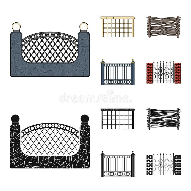 Ein Zaun des Metalls und der Ziegelsteine, hölzerne Palisade Ikonen einer gesetzte Sammlung des unterschiedlichen Zauns in der Ka vektor abbildung