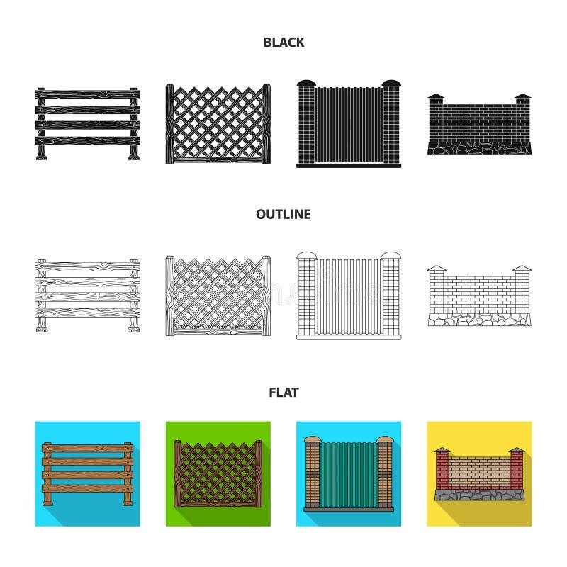 Ein Zaun des Metalls und der Ziegelsteine, hölzerne Palisade Ikonen einer vector gesetzte Sammlung des unterschiedlichen Zauns in lizenzfreie abbildung