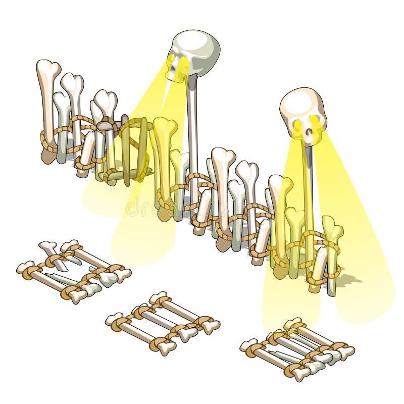 Ein Zaun hergestellt von den menschlichen Knochen und glühenden von den Schädeln lokalisiert auf weißem Hintergrund Vektorkarikat lizenzfreie abbildung