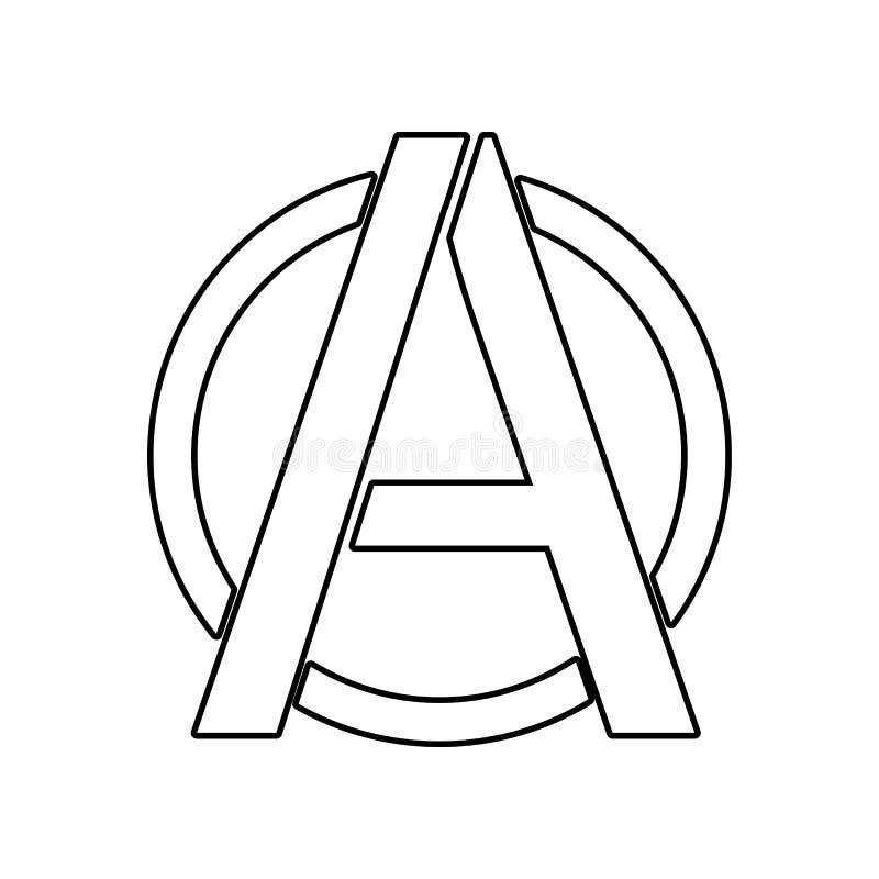 ein Zeichen der Anarchieikone Element von Kommunismus-Kapitalismus f?r bewegliches Konzept und Netz Appsikone Entwurf, d?nne Lini vektor abbildung