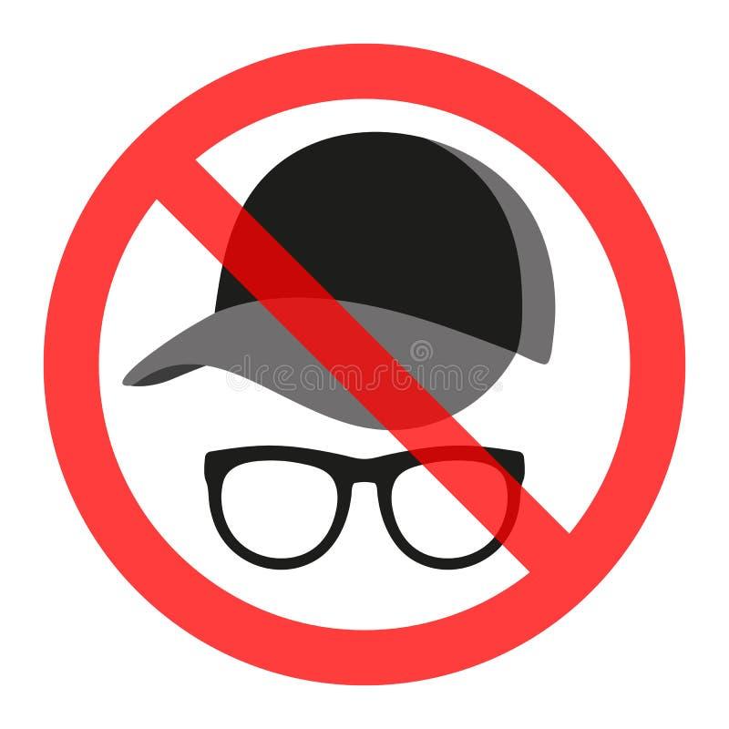 Ein Zeichen in einem roten gekreuzten Kreis ist verboten, um einen Hut und Gläser zu tragen lizenzfreie abbildung