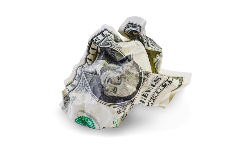 Ein zerknittert Dollar lokalisiert stockbilder