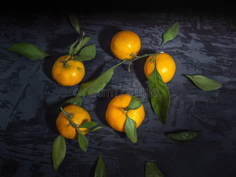 Ein Zerstreuen von Tangerinen mit grünen Broschüren auf einem dunklen Hintergrund, Draufsicht lizenzfreies stockbild