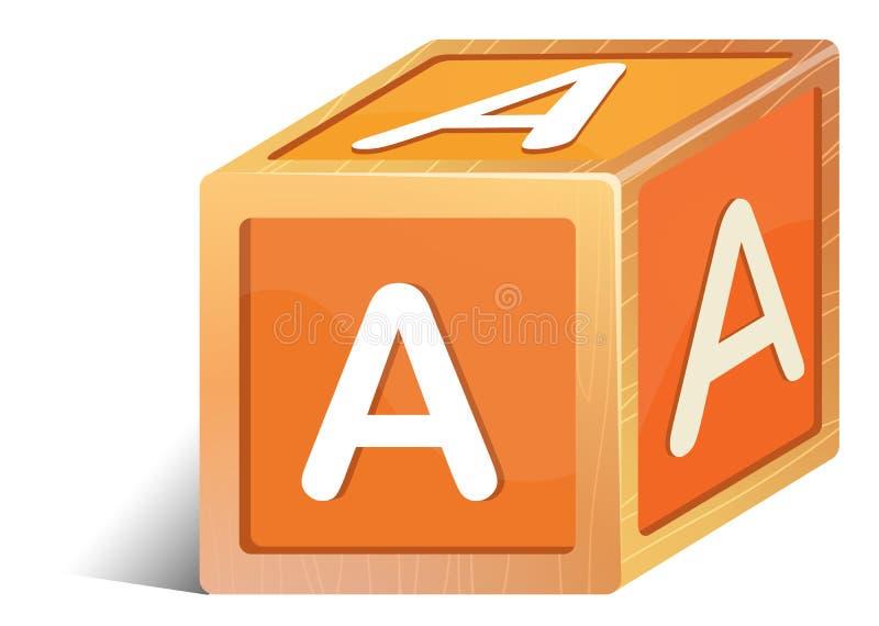 Ein Ziegelstein mit dem Buchstaben A stock abbildung
