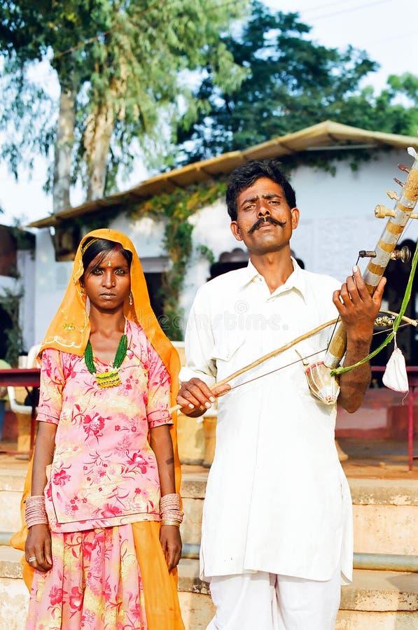 Zigeunerpaare in Pushkar, Rajasthan Indien stockfotos