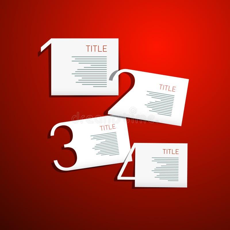 Ein, zwei, drei, vier, Vektor-Schritte für Tutorium, Infographics lizenzfreie abbildung