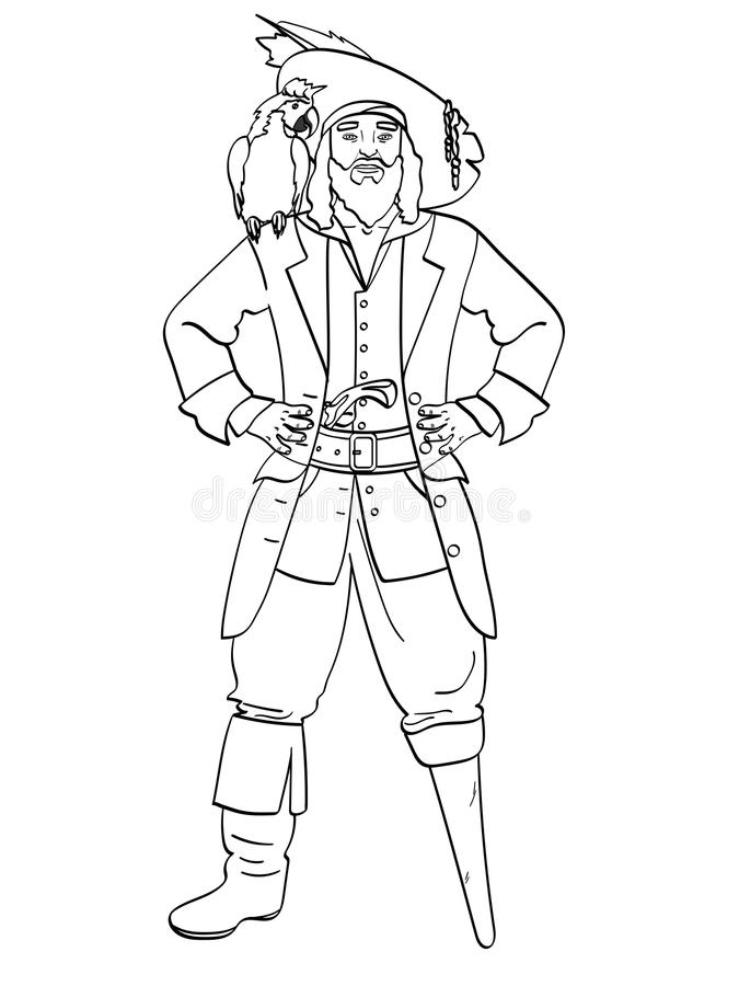 Einbeiniger Kapitän, hölzerner Fuß, Mann ist ein Pirat, ein Seemann Vektor, färbende Kinder, schwarze Linien, weißer Hintergrund lizenzfreie abbildung