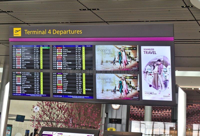 Eind het Programmamonitor van de 4 Vertrekvlucht bij Changi Internationale Luchthaven stock foto