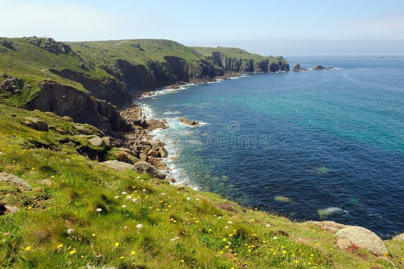 Eind het van Cornwall van het Land van de Kust royalty-vrije stock afbeelding