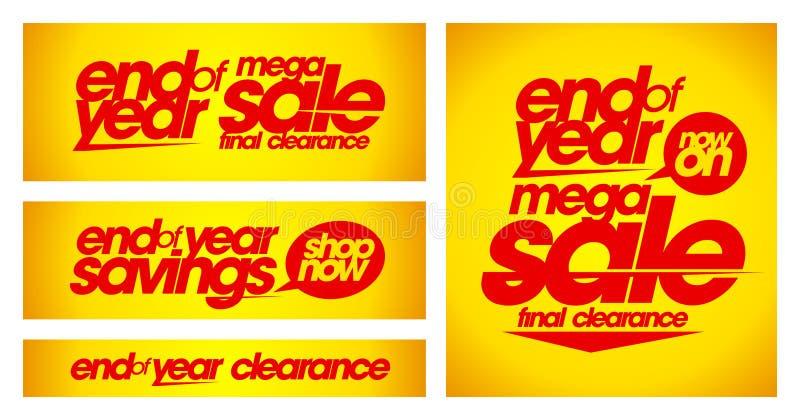 Eind van de gele banners van de jaarverkoop vector illustratie
