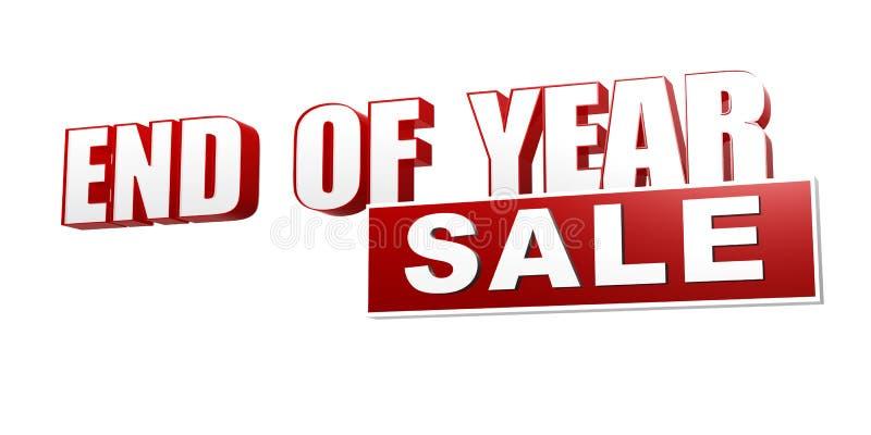 Eind van de rode witte banner van de jaarverkoop - brieven en blok royalty-vrije illustratie