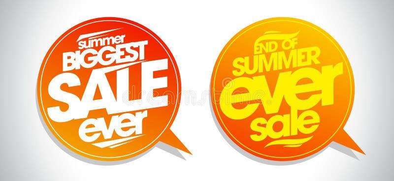 Eind van de toespraakbellen van de de zomer ooit verkoop vector illustratie