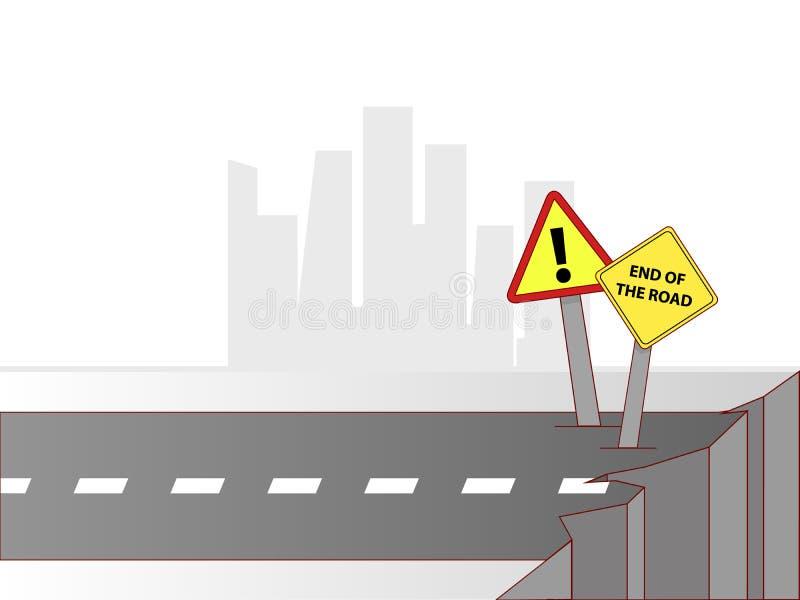 Eind van de weg stock illustratie