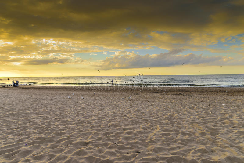 Eind van de zomer, strand stock afbeeldingen
